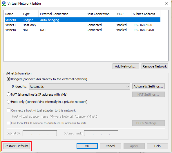 VMware Workstation bridged networking fix on Windows - Cloudy Future